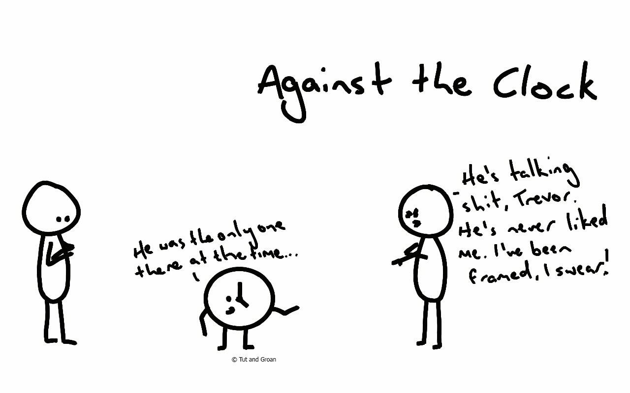 Tut and Groan Against the Clock cartoon