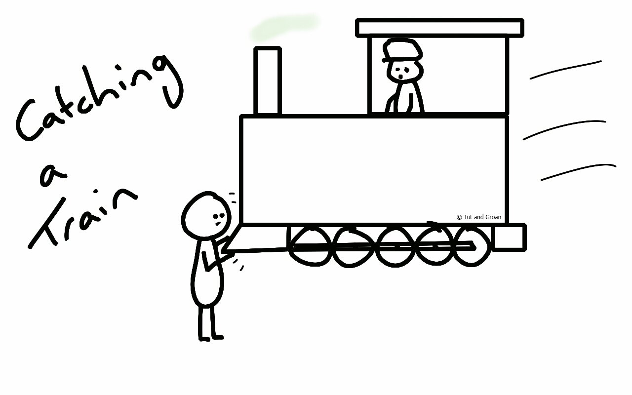Tut and Groan Catching a Train cartoon
