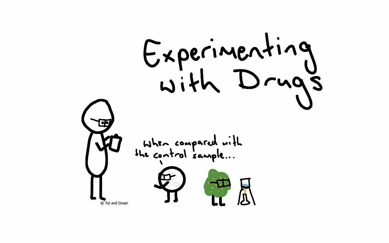 Tut and Groan Experimenting with Drugs cartoon