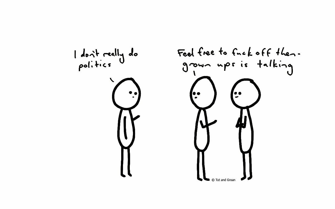 Tut and Groan I Don't Do Politics cartoon