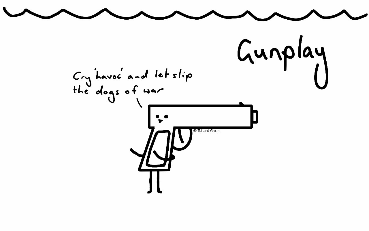Tut and Groan Gunplay cartoon