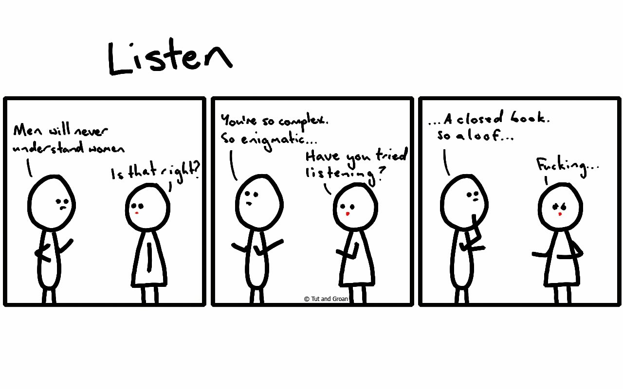 Tut and Groan Three Panels: Listen cartoon