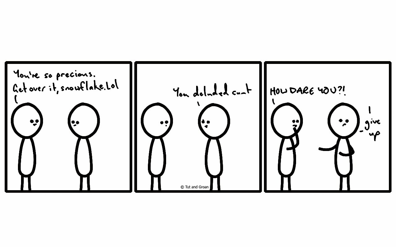 Tut and Groan Three Panels: Snowflake cartoon