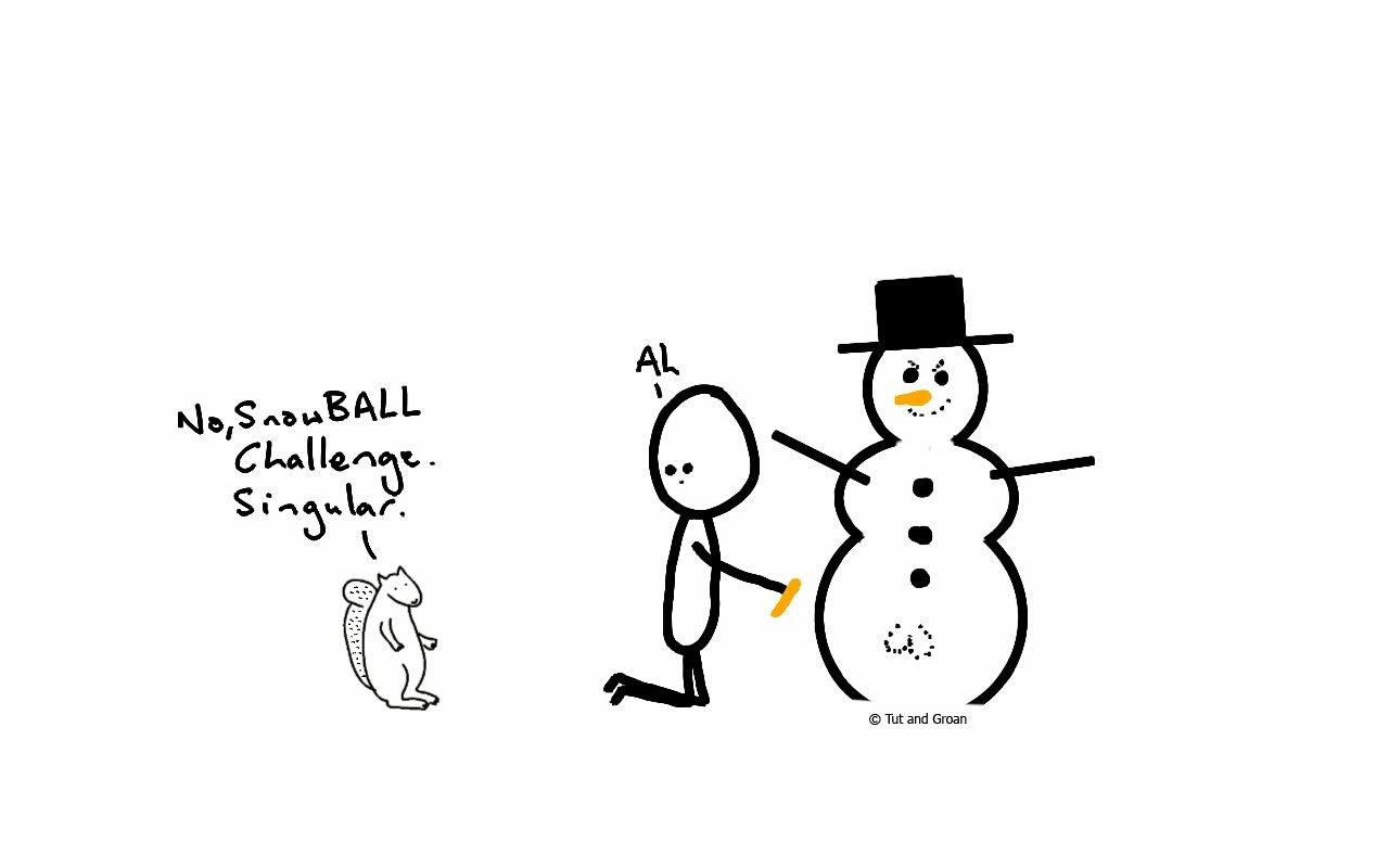 Tut and Groan Snowball Challenge 2016 cartoon